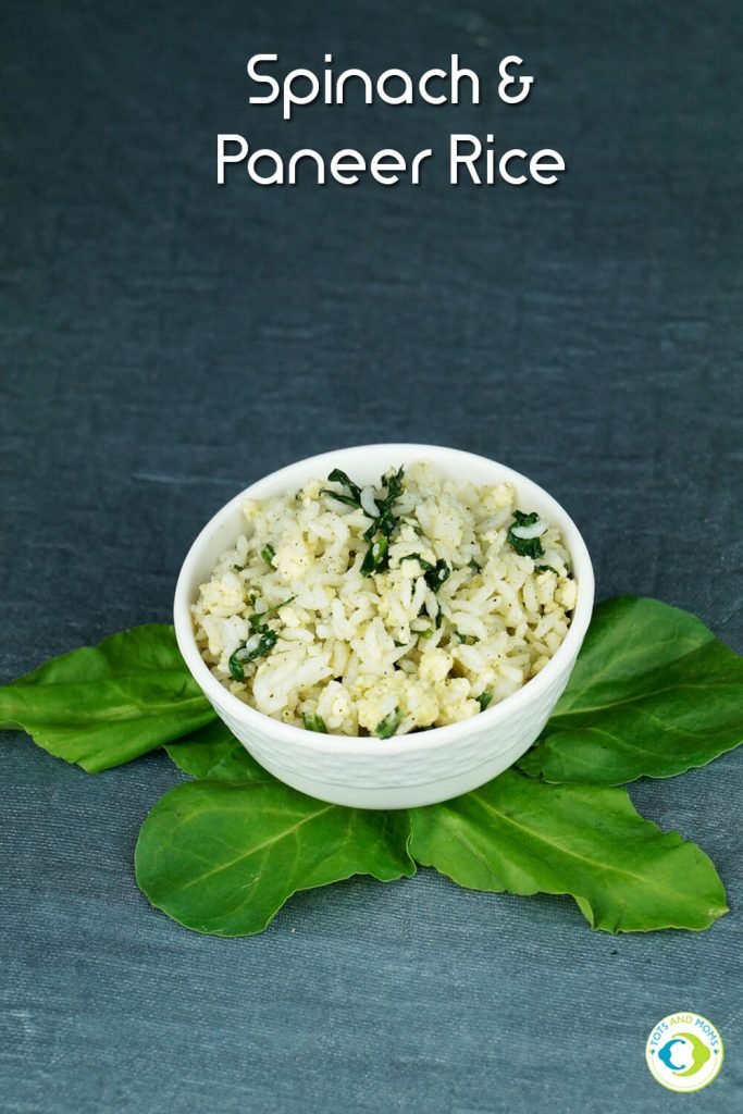 SPINACH PANEER RICE for Toddlers, Kids & Family Recipes with spinach for toddlers