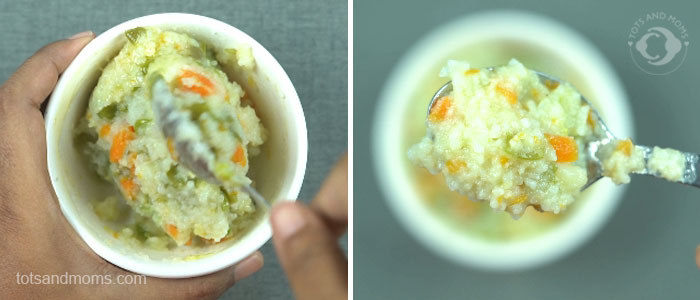 Mashed Vegetable Rice for babies and toddlers weaning first food kannada hindi